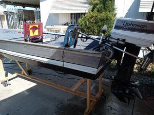 Sears aluminum boat 12 ft 20 horsepower Johnson runs good cash or. To tradeshorsepower and up for Sale in Hemet, CA