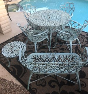 Patio set table and chairs with a love seat and a side table. for Sale in Guadalupe, AZ