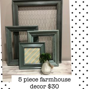 Farmhouse decor - 4 layering frames and small succulent + vase for Sale in Woodstock, GA
