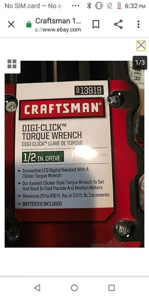 Craftman Digi torque wrench for Sale in Eugene, OR
