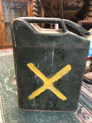 14x7x18 Antique vintage WW2 era military police gas can. 1940s. 35.00. 212 north Main Street Buda 🎅🏼Johanna. Antique furniture sterling silver jewelr for Sale in Buda, TX