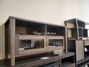 Melina 2 Glass Door TV Stand up to 55in TVs, Distressed Grey, SKU# ID161566TC for Sale in Norwalk, CA