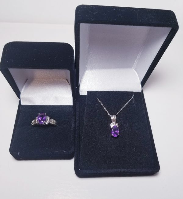 10k white gold amethyst diamond ring & necklace set