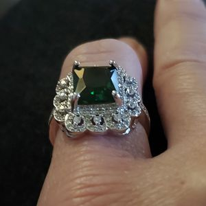 Sz 7 Emerald Sterling Deco Ring for Sale in Vancouver, WA