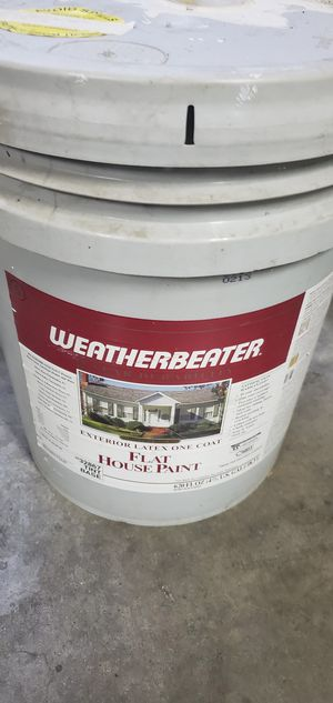 Free 5 gallon flat house paint exterior color as shown in 2nd picture never used for Sale in Modesto, CA