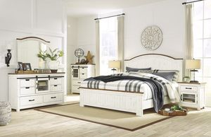 White brown queen bedroom set - bed, dresser, mirror, nightstand FREE SAME DAY DELIVERY for Sale in Rosenberg, TX
