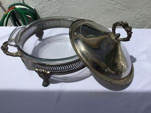 Silver plated chafing dish with glass insert for Sale in Phoenix, AZ