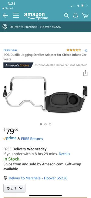 Bob duallie double car seat adapter for chicco for Sale in Birmingham, AL