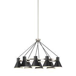 NEW Chandelier lighting fixture Sea Gull Lighting Mid Century Modern 8-Light Black Shade Brushed Nickel Lighting for Sale in Goleta,  CA