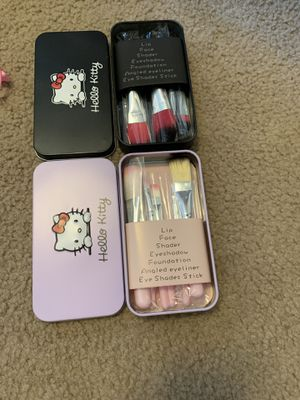 Hello Kitty makeup brushes with case and Hello Kitty Manicure kit cas for Sale in Olympia, WA