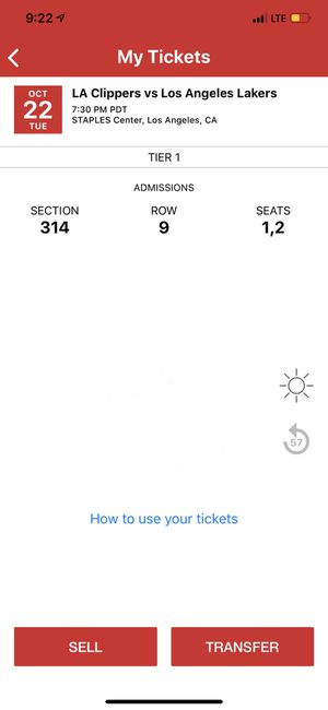 10/22 Clippers vs Lakers for Sale in Gardena, CA