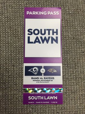 Tailgating Parking Pass Rams vs. Ravens for Sale in Los Angeles, CA