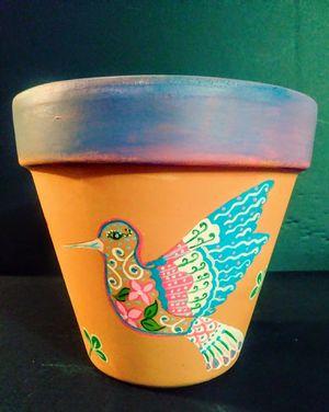 Whimsical bird on terracotta pot for Sale in Phoenix, AZ