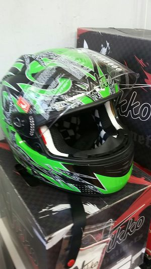 Kawasaki green motorcycle full face helmet size large brand new for Sale in Los Angeles, CA