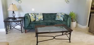 Velvet sofa with coffee table and end table for Sale in Alafaya, FL