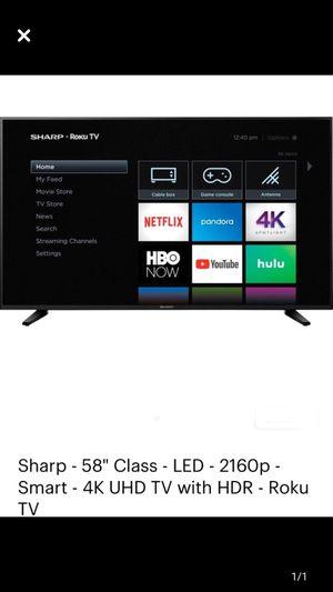 "Sharp 58"" 4K tv roku smart for Sale in Woodbridge Township, NJ"