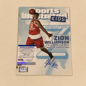 Zion Williamson Signed Sports Illustrated Kids Early Autograph RARE + PSA COA! for Sale in Tempe, AZ