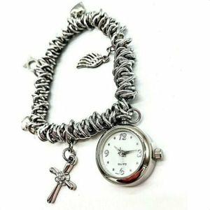 Avon Cross Heart Wings Charm Bracelet Watch Silver for Sale in Brooklyn, NY