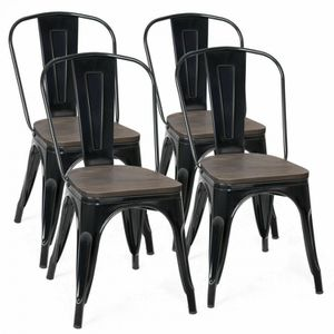 Set of 4 Stackable Tolix Style Metal Wood Dining Chair for Sale in Fresno, CA
