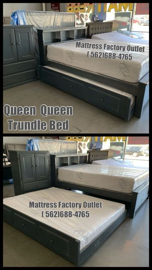 Queen Trundle Bed Heavy Duty Frame (Available in : Black / Gray Washed / Natural / Cherry / Oak / Expresso / Honey....11 colors available ) for Sale in Bellflower, CA