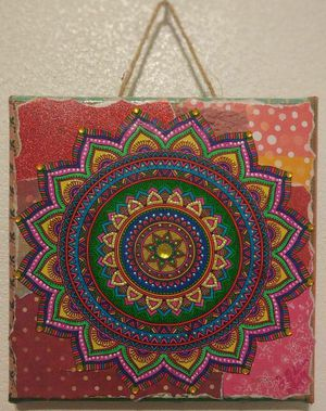 Decoupage Abstract Persian Mandala Burlap Canvas Art for Sale in Kyle, TX