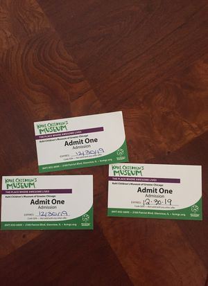 Kohl Children's Museum 3 tickets for Sale in Niles, IL
