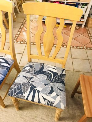 Chair light wood blue fabric . Dinning table chair for Sale in West Palm Beach, FL