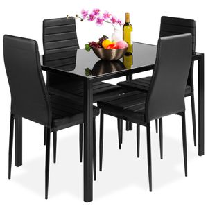 5-Piece Kitchen Dining Table Set w/ Glass Tabletop, 4 Faux Leather Chairs - Black for Sale in Pasadena, TX