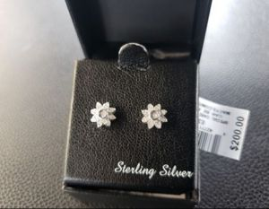 Diamond earrings in sterling silver setting for Sale in Las Vegas, NV