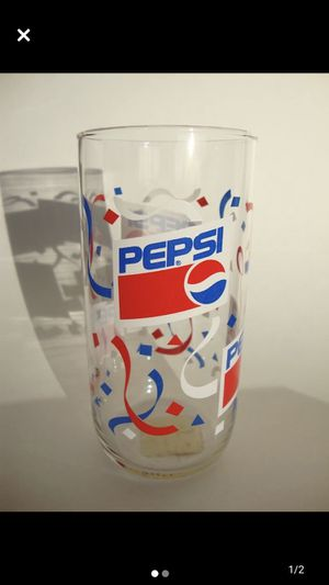Vintage 80s Pepsi Cola Soda Glass 12 oz. With Original Faded Label Classic Festive Party Style Design Collectible for Sale in Pinellas Park, FL