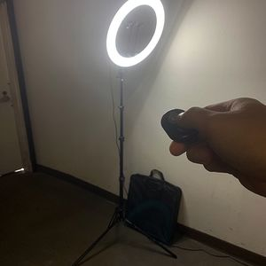 """$90 (new in box) 17"""" led selfie ring light 90"""" tall tripod stand with phone holder bluetooth camera remote for Sale in Whittier, CA"""