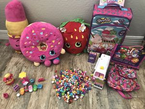 Tons of shopkins!!! Pillows, bags, suitcase, cars, cards, sticker book, ice cream truck.... for Sale in Surprise, AZ