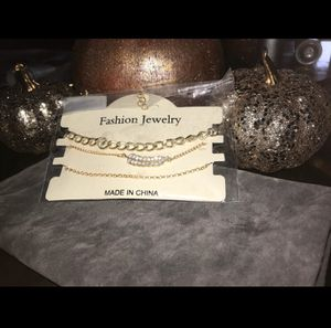 Trio of Embellished Feather and Gold Chain Bracelets for Sale in Silver Spring, MD