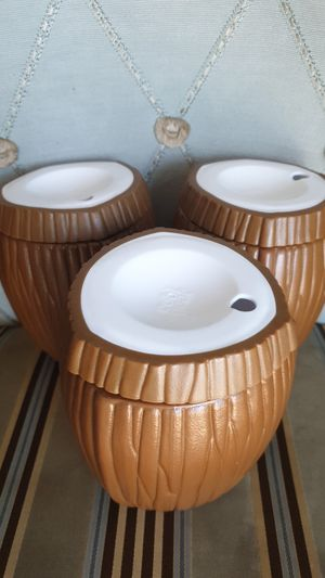3 insulated Tropical Coconut Cocktail Tumblers with Lids for Sale in Bellevue, WA
