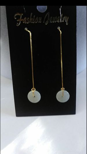 """Silver 925 gold color dangle earings genuine jade Burma jadeist safety donut 2"""" for Sale in Richmond, CA"""