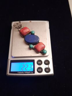 Sterling Silver Charm with Agate Stone, Lapis Stone and Turquoise Stone for Sale in Mount Rainier,  MD