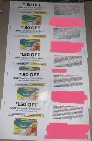 5 Pampers coupons: $1.50 off Pampers Swaddlers diapers, expires 12/31/20 for Sale in Fort Lauderdale, FL