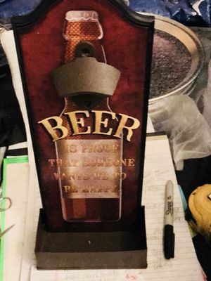 Beer bottle top opener storage container bar sign home Decore man cave freestanding or hang on wall Bottle top opener excellent condition for Sale in Galt, CA
