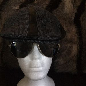 Kangol style black leather and wool fabric hat for Sale in Tampa, FL
