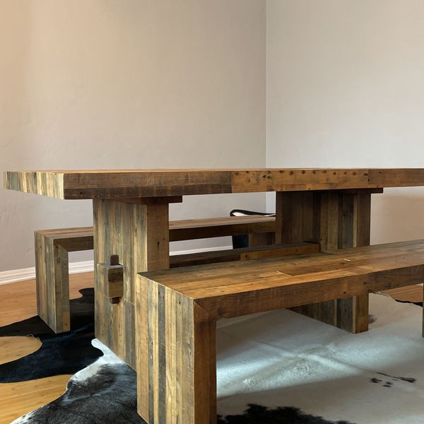 Reclaimed Wood Dining Table With Benches