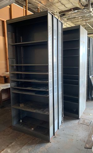 Double sided metal shelving for Sale in Kearny, NJ