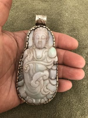 Very rare Large jade carving Custom made One of a kind Sterling silver.925 bezel Very beautiful Large Jade buddha pendant 1st $900 takes for Sale in Las Vegas, NV