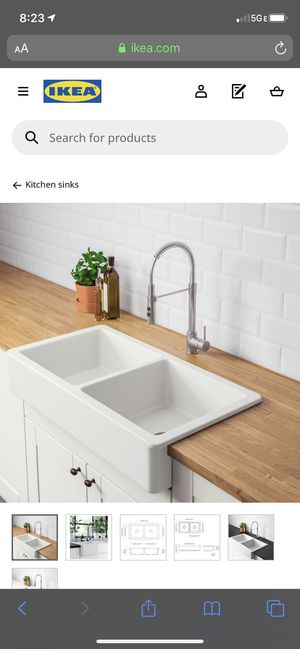 HAVSEN Farmhouse double bowl sink, white, 37x19 for Sale in Windsor Mill, MD