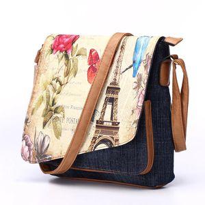 Annmouler Vintage Shoulder Bag Women's Fashion Demin Crossbody Bag Eiffel Tower Print Messenger Bag for Ladies Casual Tote Bags for Sale in Orlando, FL