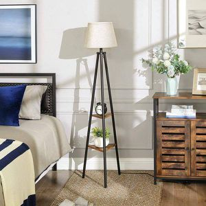 Floor Lamp with Shelves, Standing Reading Lamp with LED Bulb and Lamp Shade for Sale in Chino, CA