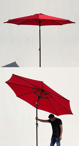 New $35 each Outdoor 9ft Patio Umbrella Aluminum Sun Shade w/ Tilt Crank (Tan, Green or Red) for Sale in El Monte, CA