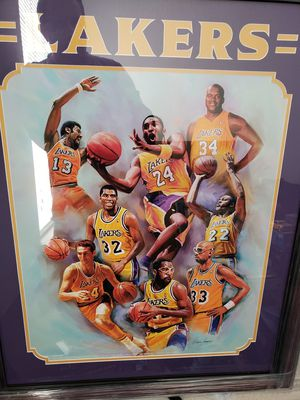 LAKERS PLAYERS POSTER FRAMED for Sale in Arlington, VA
