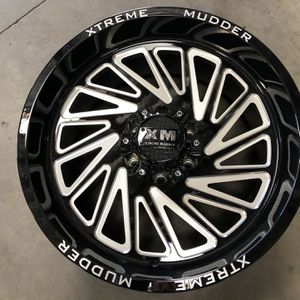 New Wheels Xtreme Mudder XM-342 6X135/6X139.7 -6 108 Gloss Black Milled For A Set for Sale in Corona, CA