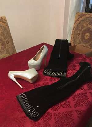 Rhinestone heels and thigh hi boots. for Sale in Las Vegas, NV