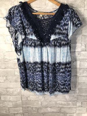 One World Navy Printed Fringe Trim Top for Sale in York, PA